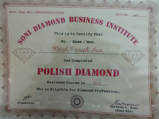 Diamond Institute Certificate